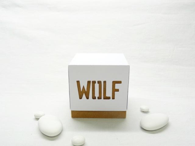 Doopsuikerdoosje kubus met deksel - Wolf 1