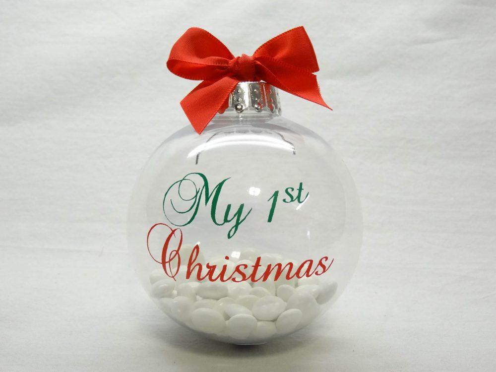 Doorzichtige kerstbal met vulling - my 1sth christmas 1