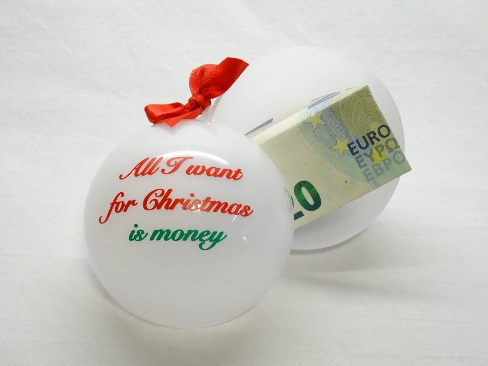Geld cadeau doen - kerstbal 1