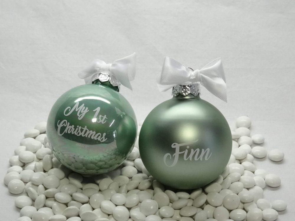 Kerstballen met personalisatie - mint